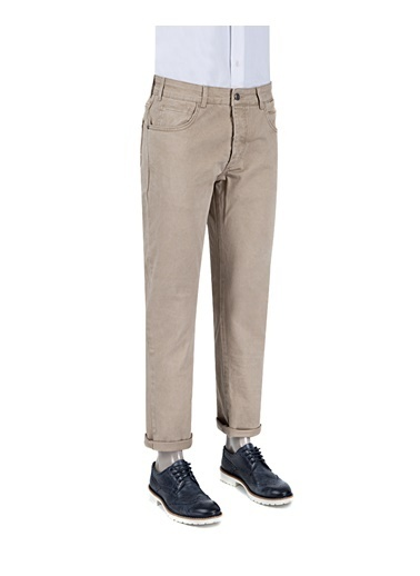 D'S Damat Slim Fit Düz Chino Pantolon Camel